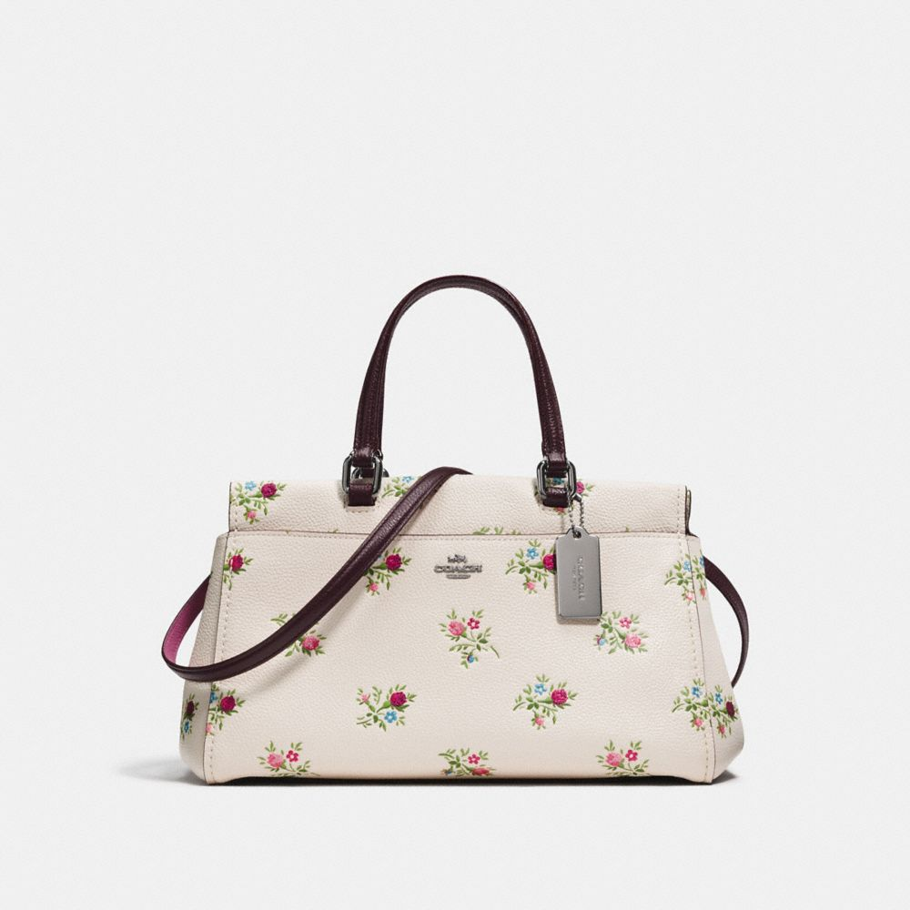 FULTON SATCHEL WITH CROSS STITCH FLORAL PRINT