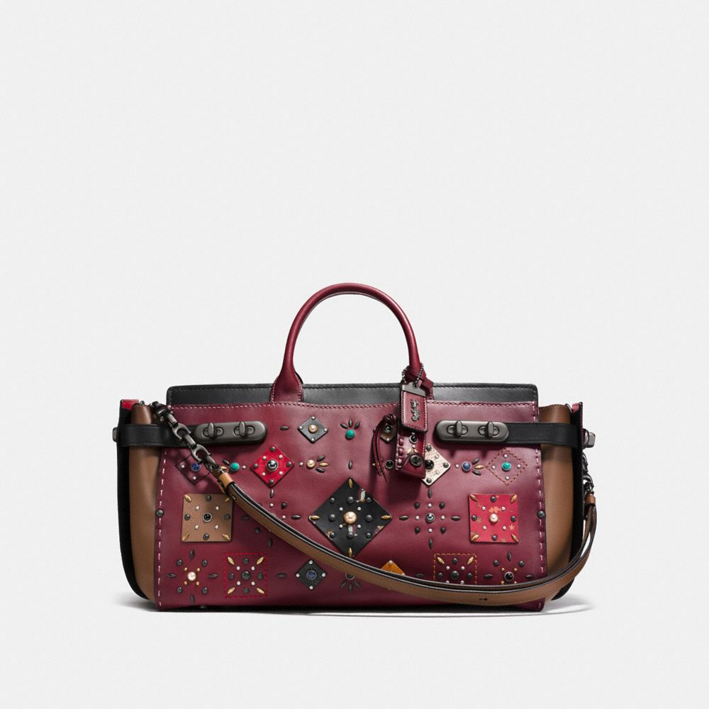 COACH DOUBLE SWAGGER 43 WITH PATCHWORK PRAIRIE RIVETS AND SNAKESKIN DETAIL