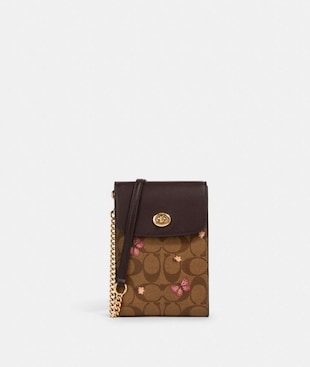 RACHEL PHONE CROSSBODY IN SIGNATURE CANVAS WITH BUTTERFLY PRINT