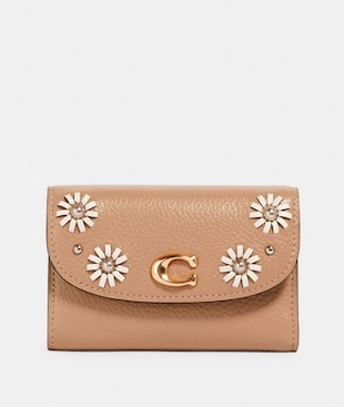 REMI MEDIUM ENVELOPE WALLET WITH WHIPSTITCH DAISY APPLIQUE