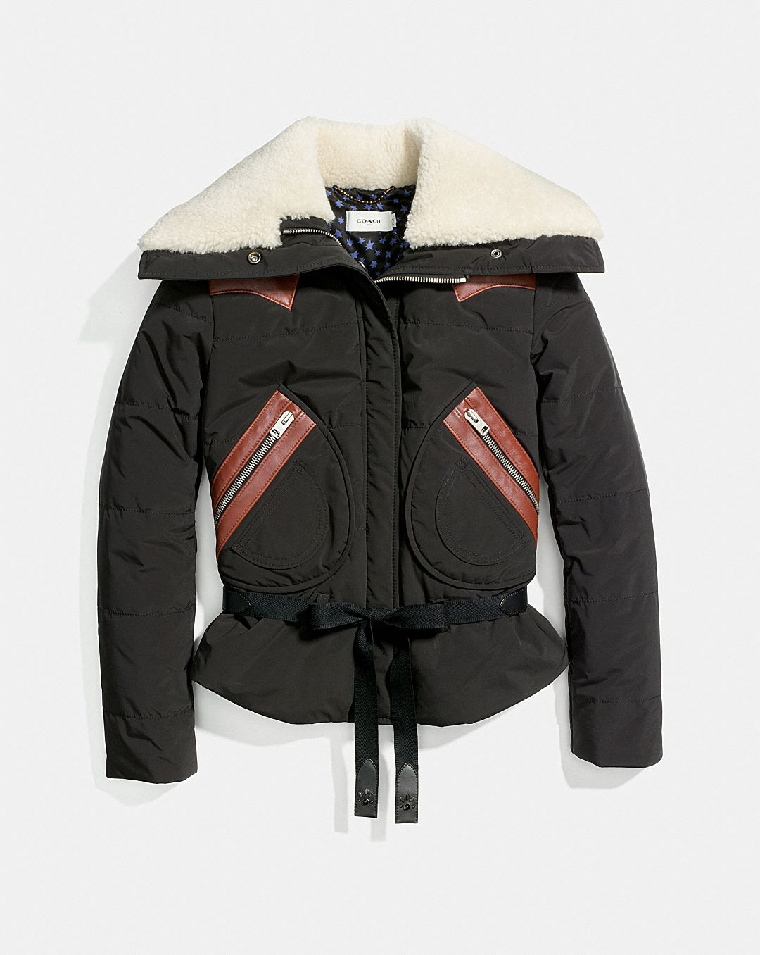 PUFFER JACKET WITH SHEARLING