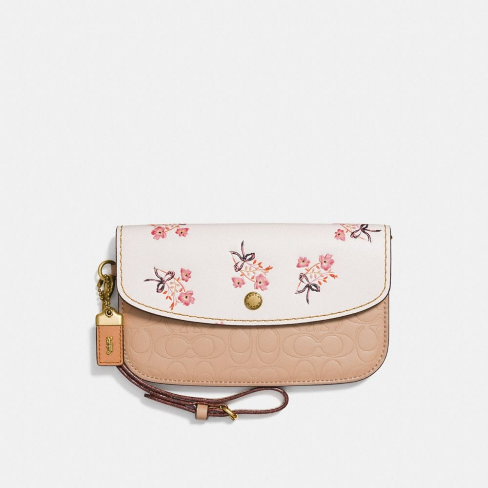 CLUTCH WITH FLORAL BOW PRINT