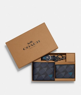 BOXED 3-IN-1 WALLET GIFT SET WITH CHECK GEO PRINT