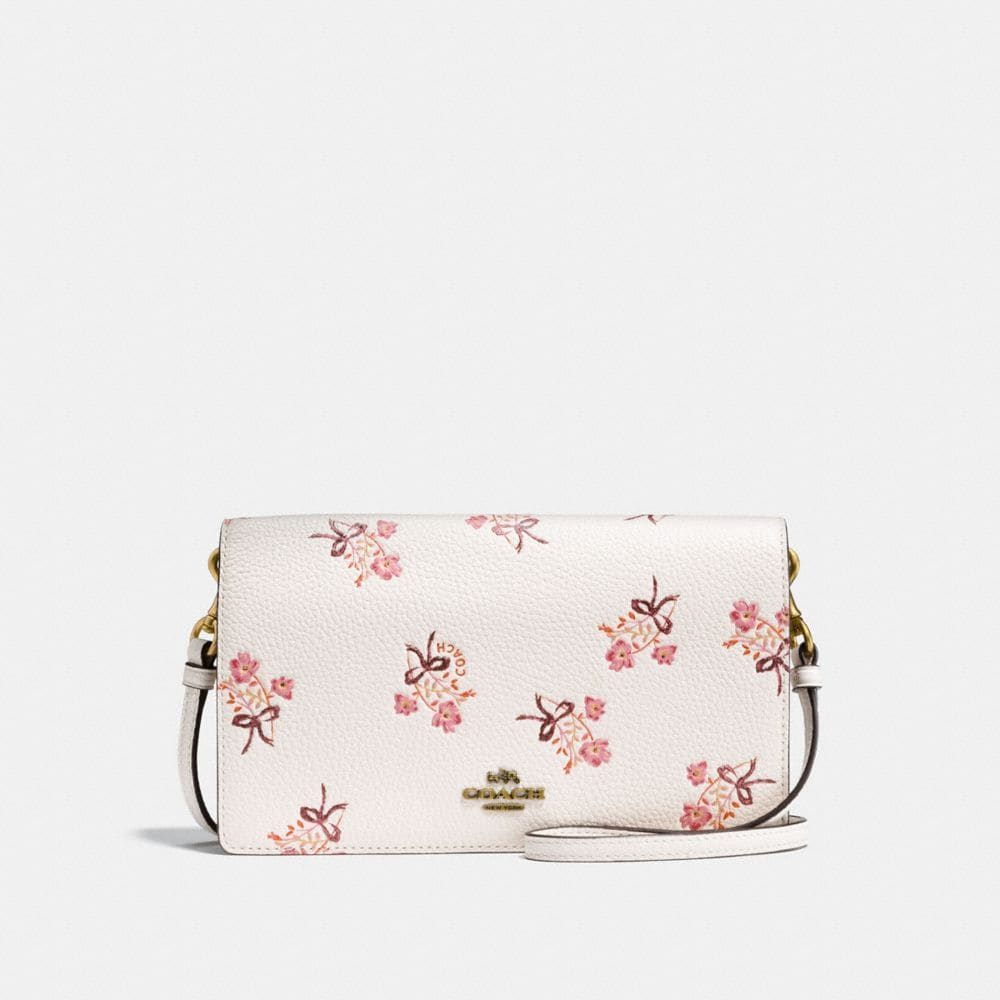 FOLDOVER CROSSBODY CLUTCH WITH FLORAL BOW PRINT