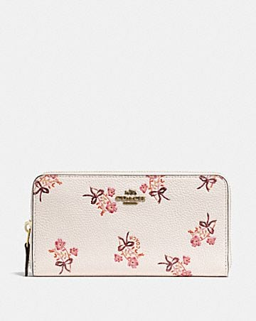 Coach designer womens wallets accordion zip wallet with floral bow print mightylinksfo