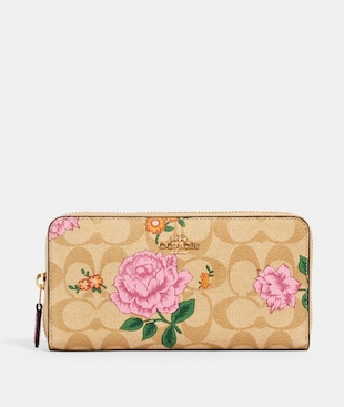 ACCORDION ZIP WALLET IN SIGNATURE CANVAS WITH PRAIRIE ROSE PRINT