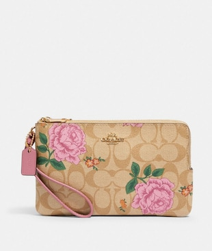 DOUBLE ZIP WALLET IN SIGNATURE CANVAS WITH PRAIRIE ROSE PRINT