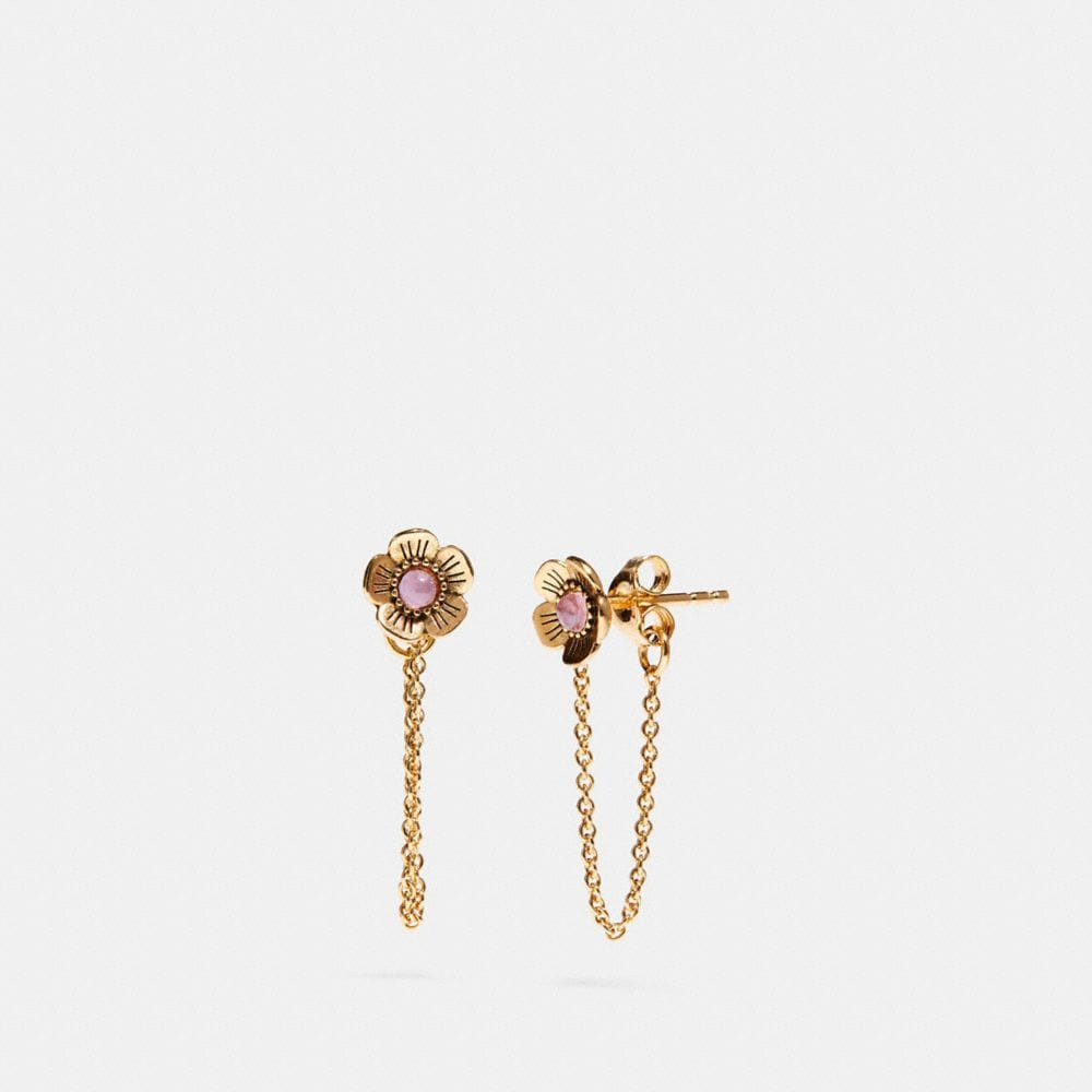 18K GOLD PLATED TEA ROSE CHAIN EARRING