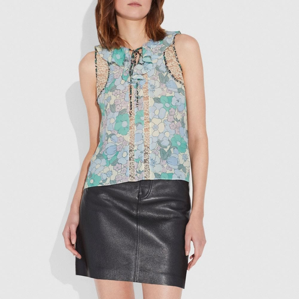 FLORAL BUTTON PRINT FRILL TOP