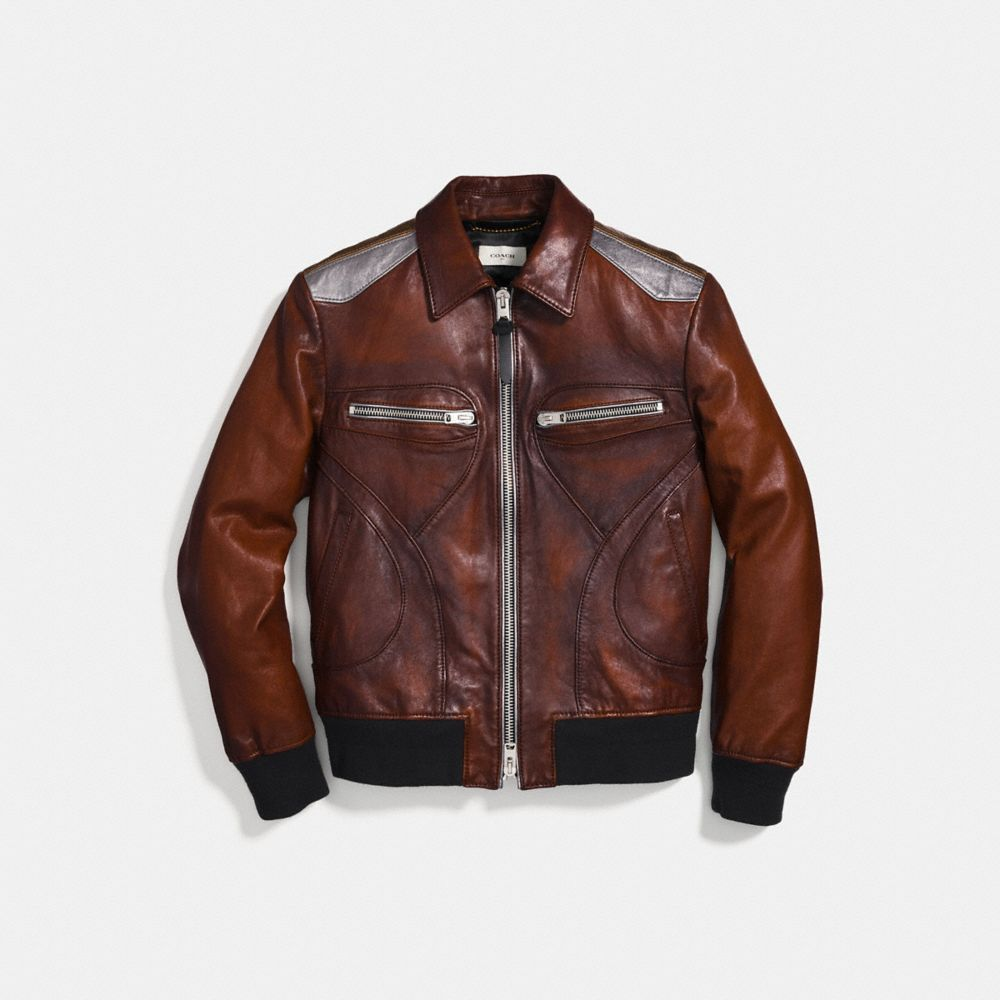 BURNISHED LEATHER PIECED BOMBER JACKET