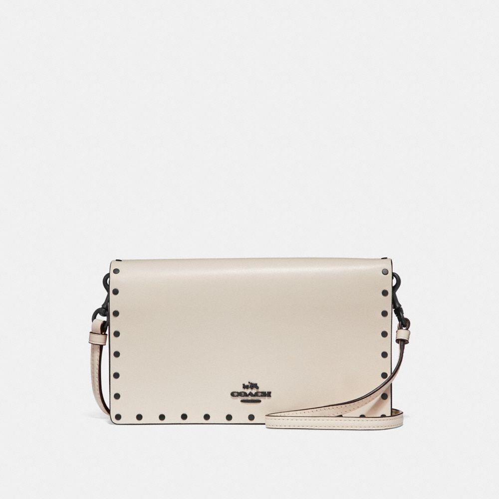 FOLDOVER CROSSBODY CLUTCH WITH BORDER RIVETS