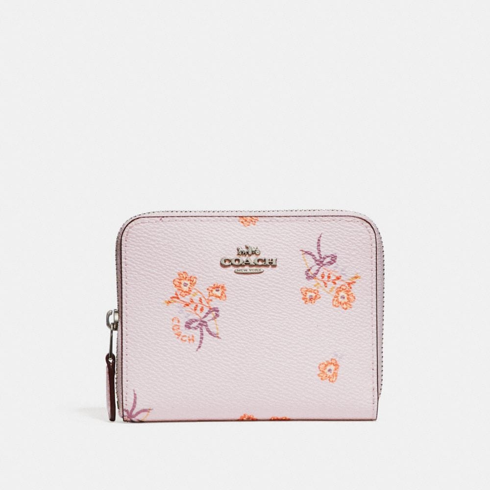 SMALL ZIP AROUND WALLET WITH FLORAL BOW PRINT