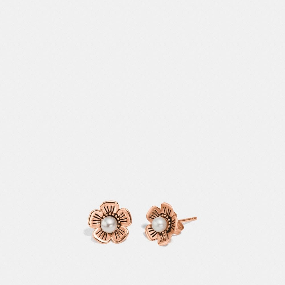 FRESHWATER PEARL TEA ROSE EARRINGS