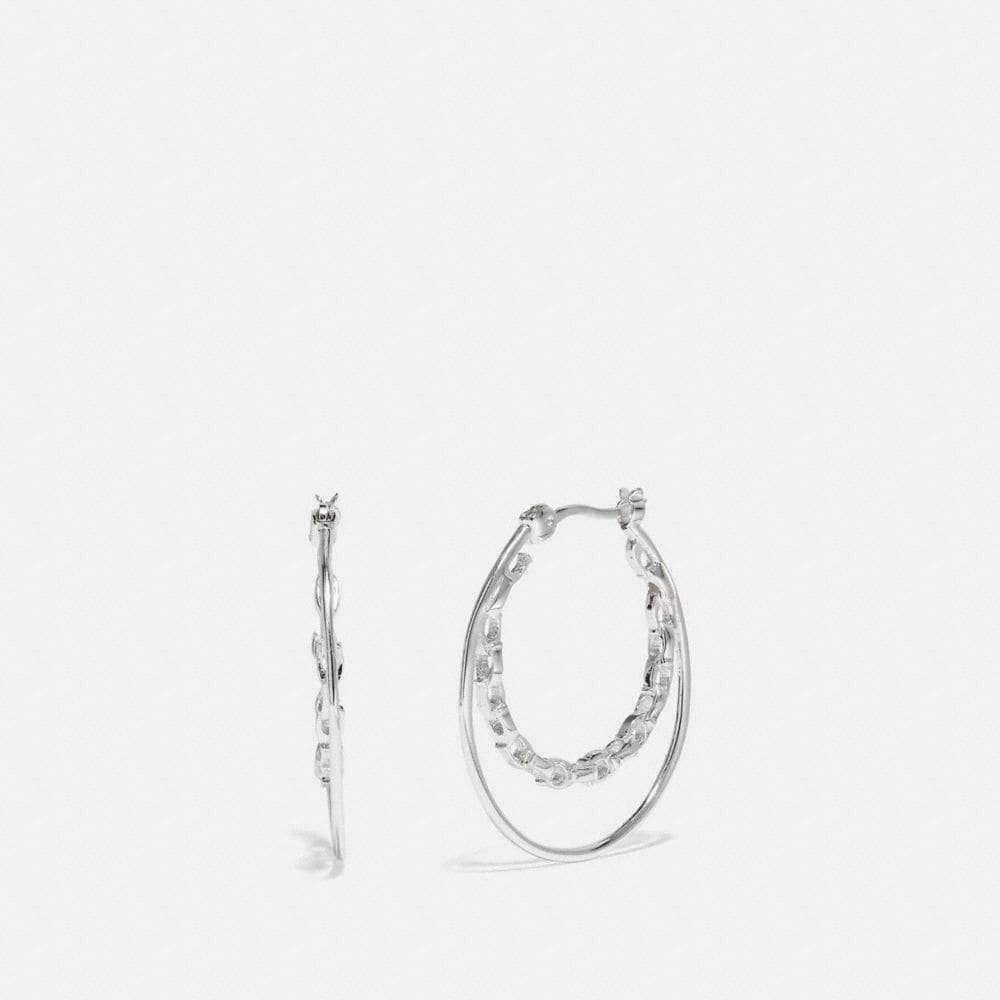 FROZEN CHAIN HOOP EARRINGS