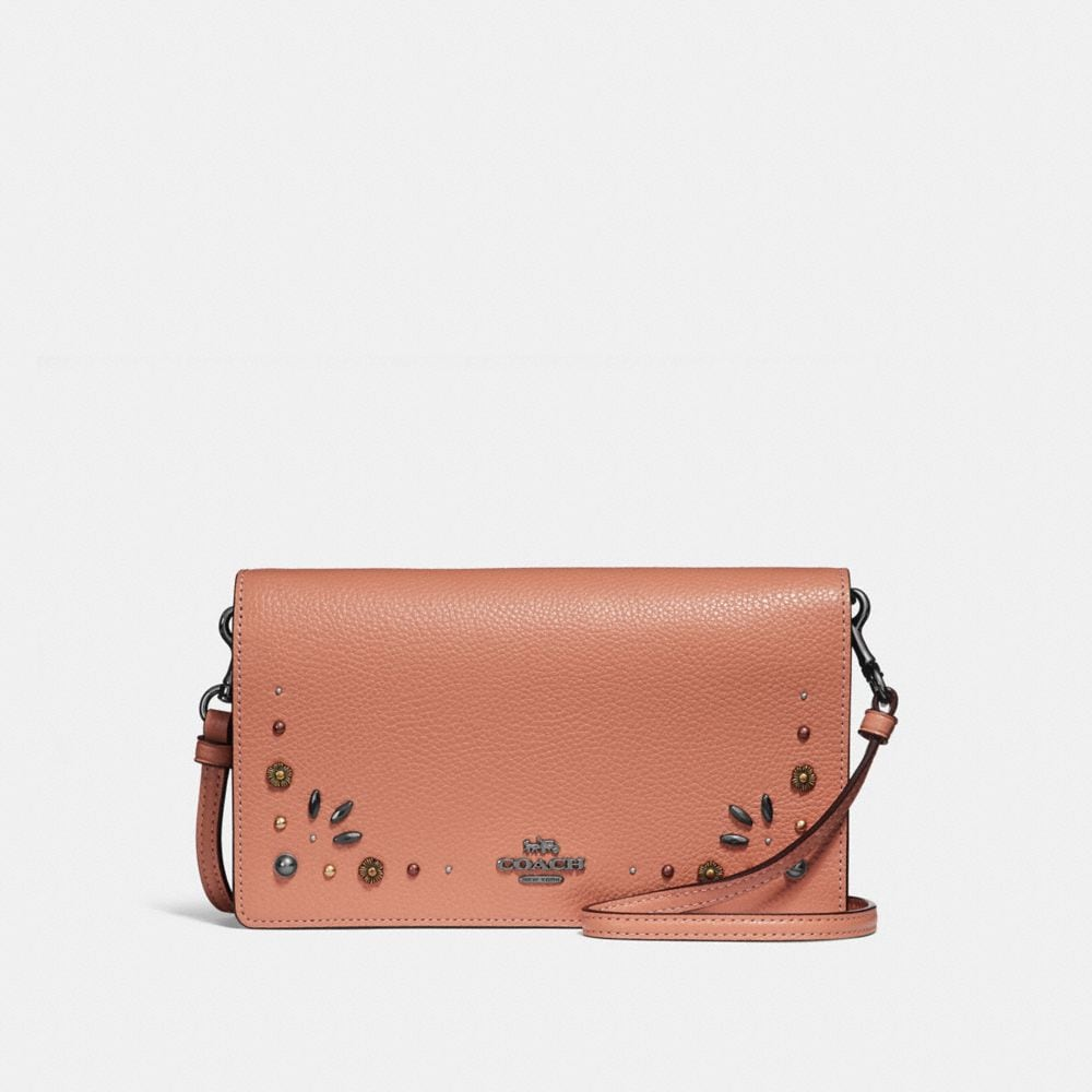 HAYDEN FOLDOVER CROSSBODY CLUTCH WITH PRAIRIE RIVETS DETAIL