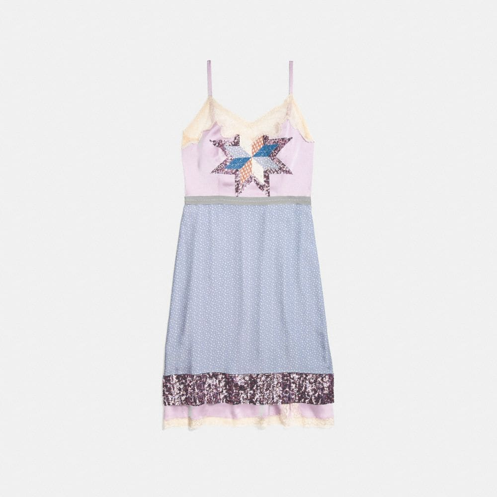 QUILTED PATCHWORK SLIP DRESS