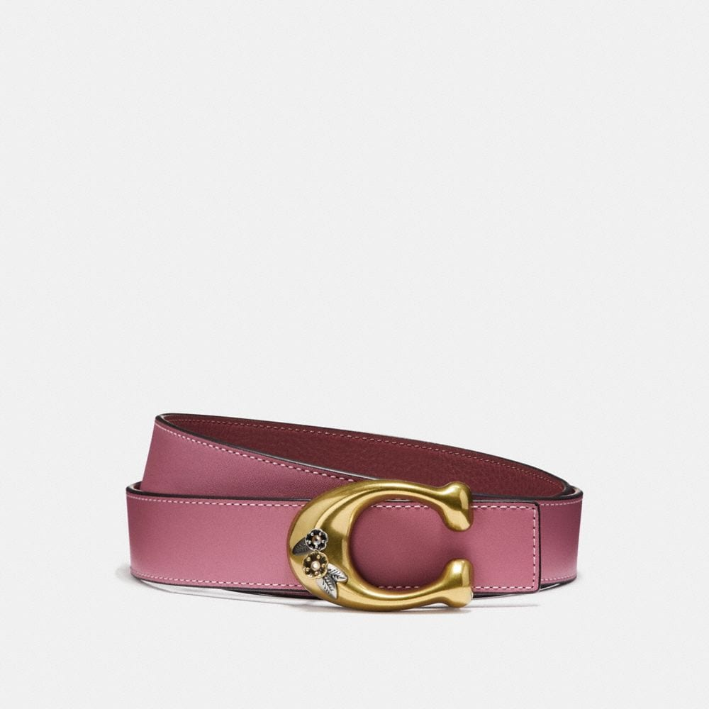 TEA ROSE SCULPTED SIGNATURE REVERSIBLE BELT