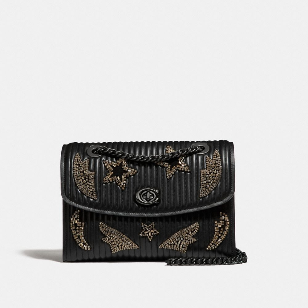 PARKER IN QUILTED LEATHER WITH CRYSTAL EMBELLISHMENT