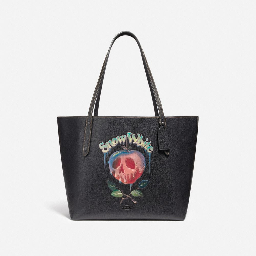DISNEY X COACH MARKET TOTE WITH POISON APPLE GRAPHIC
