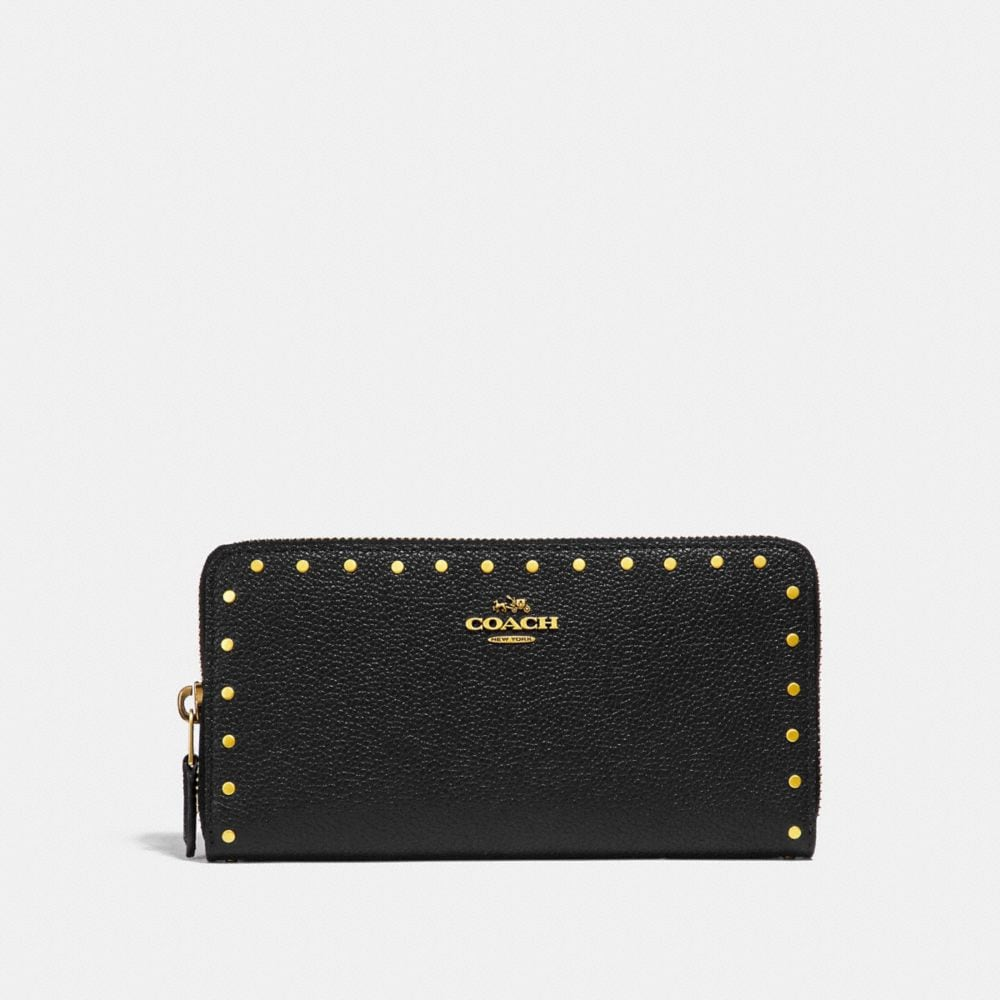 ACCORDION ZIP WALLET WITH BORDER RIVETS