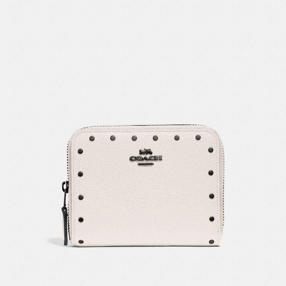 SMALL ZIP AROUND WALLET WITH RIVETS