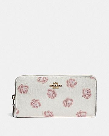 ACCORDION ZIP WALLET WITH ROSE PRINT ...