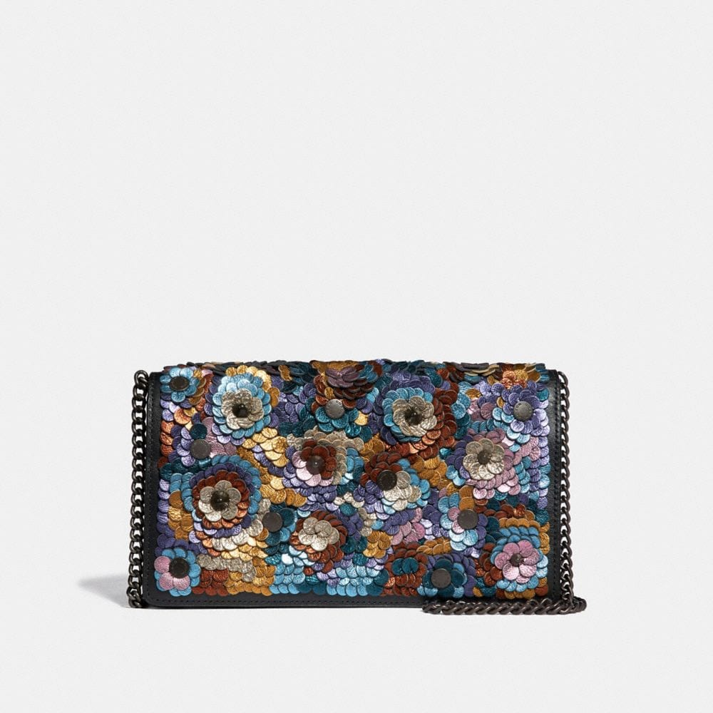 CALLIE FOLDOVER CHAIN CLUTCH WITH LEATHER SEQUIN