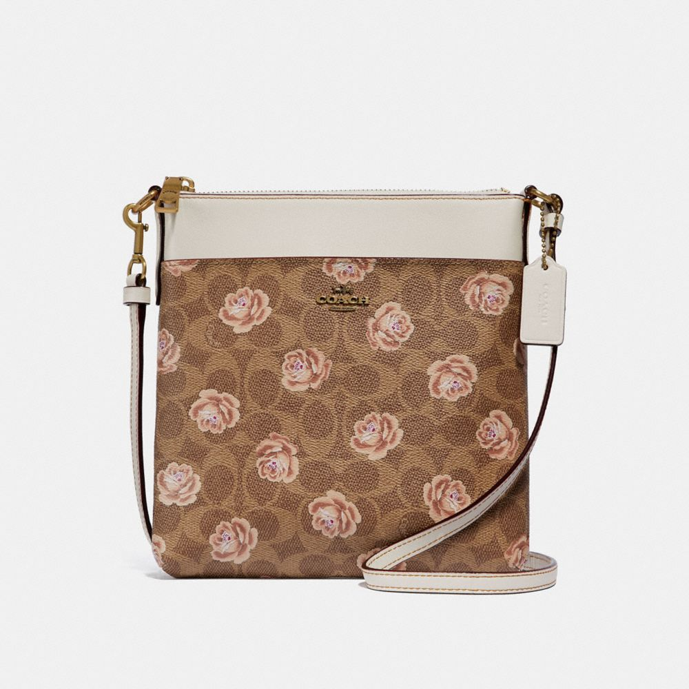 KITT MESSENGER CROSSBODY IN SIGNATURE ROSE PRINT