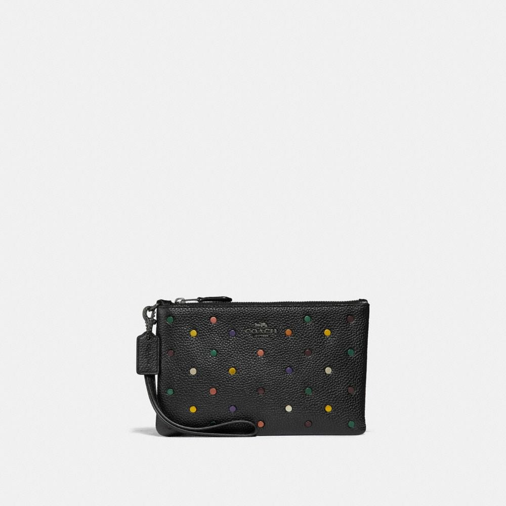 SMALL WRISTLET IN POLISHED PEBBLE LEATHER WITH RAINBOW RIVETS
