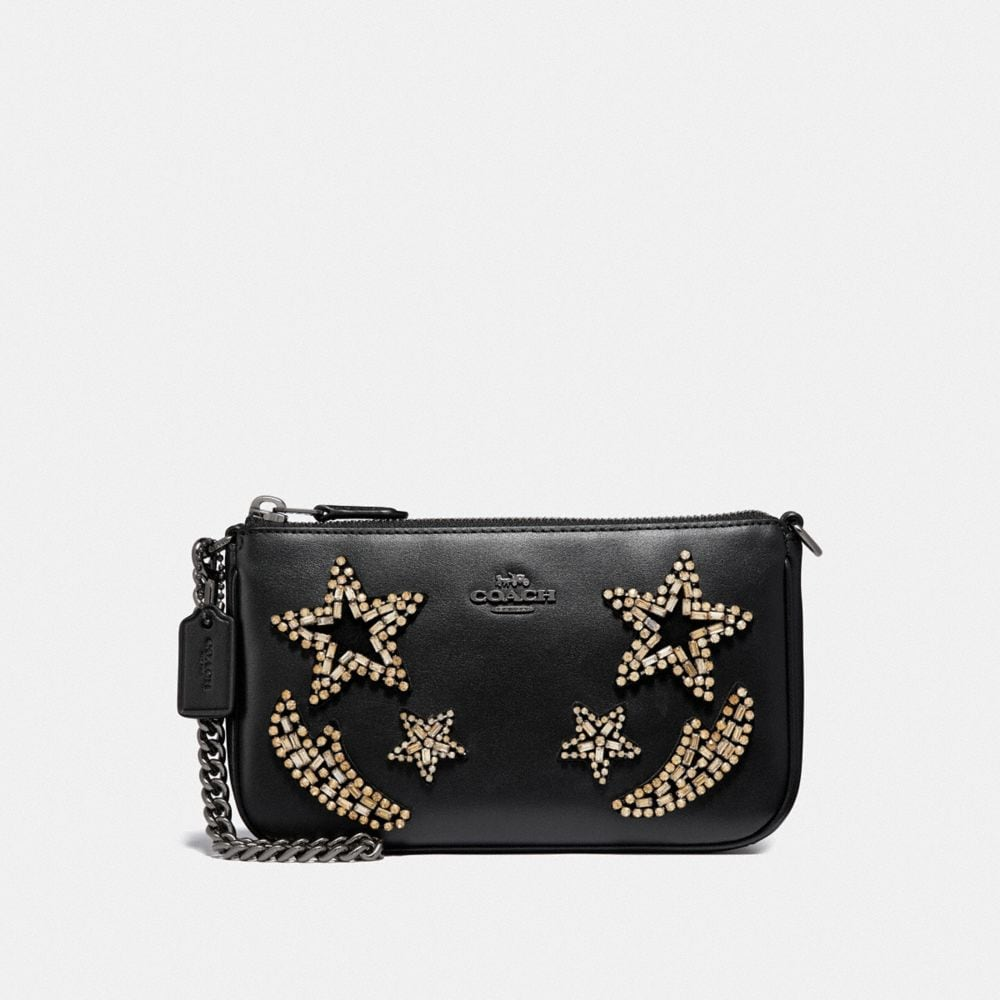 NOLITA WRISTLET 19 IN REFINED CALF LEATHER WITH CRYSTAL EMBELLISHMENT