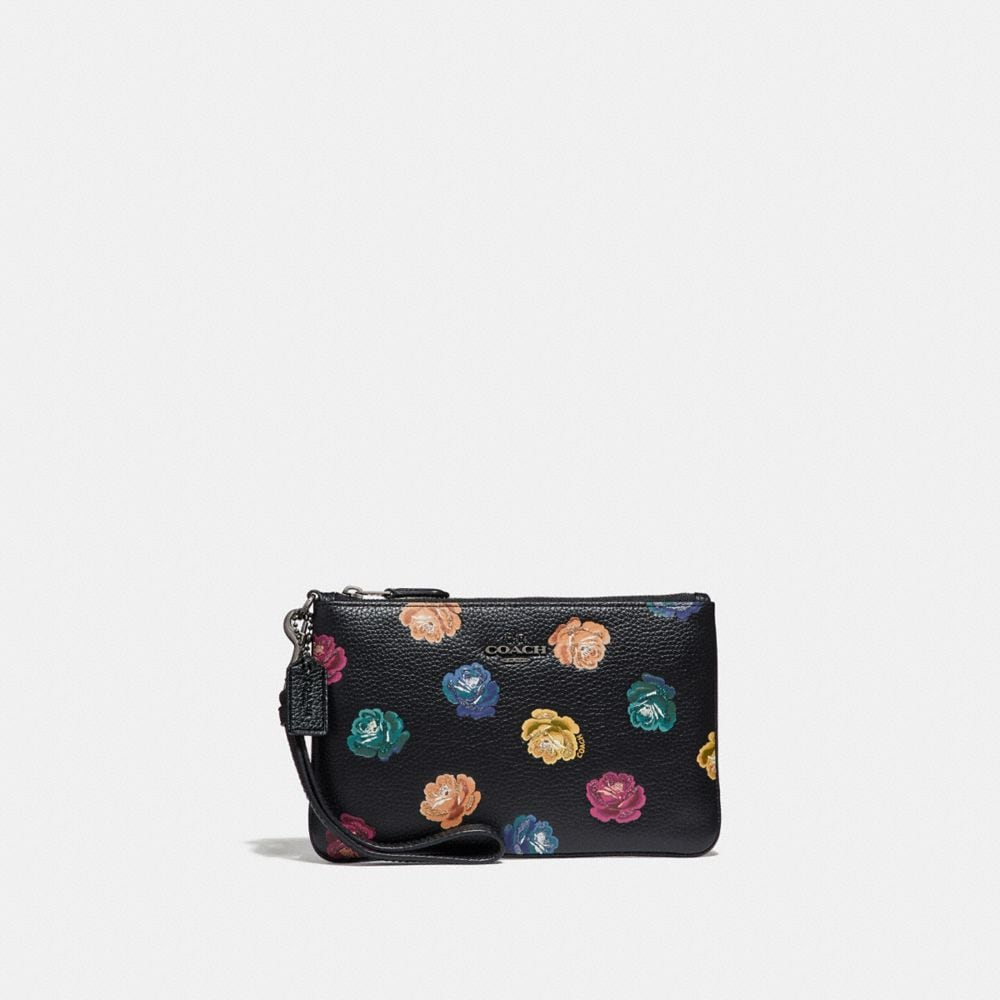 SMALL WRISTLET IN POLISHED PEBBLE LEATHER WITH RAINBOW ROSE PRINT