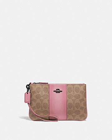 SMALL WRISTLET IN COLORBLOCK SIGNATURE CANVAS