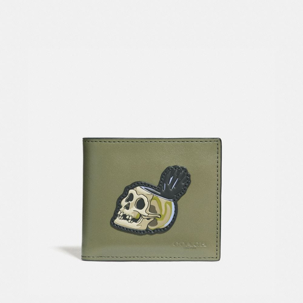 DISNEY X COACH DOUBLE BILLFOLD WALLET WITH SKULL