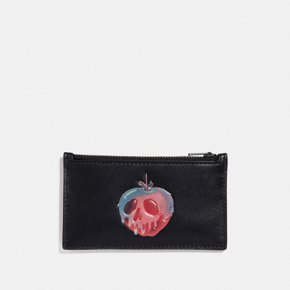 DISNEY X COACH ZIP CARD CASE WITH POISON APPLE