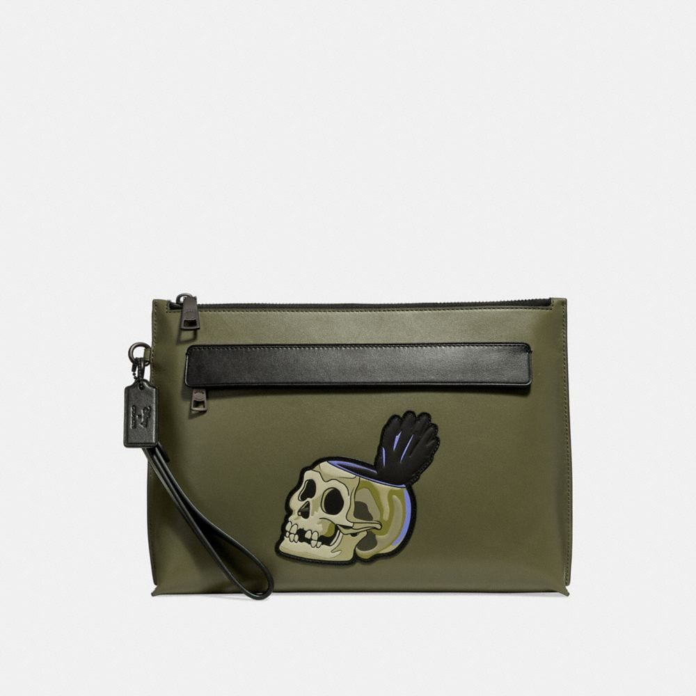 DISNEY X COACH CARRYALL POUCH WITH  SKULL