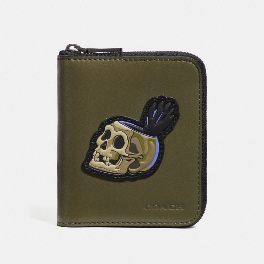 DISNEY X COACH SMALL ZIP AROUND WALLET WITH SKULL