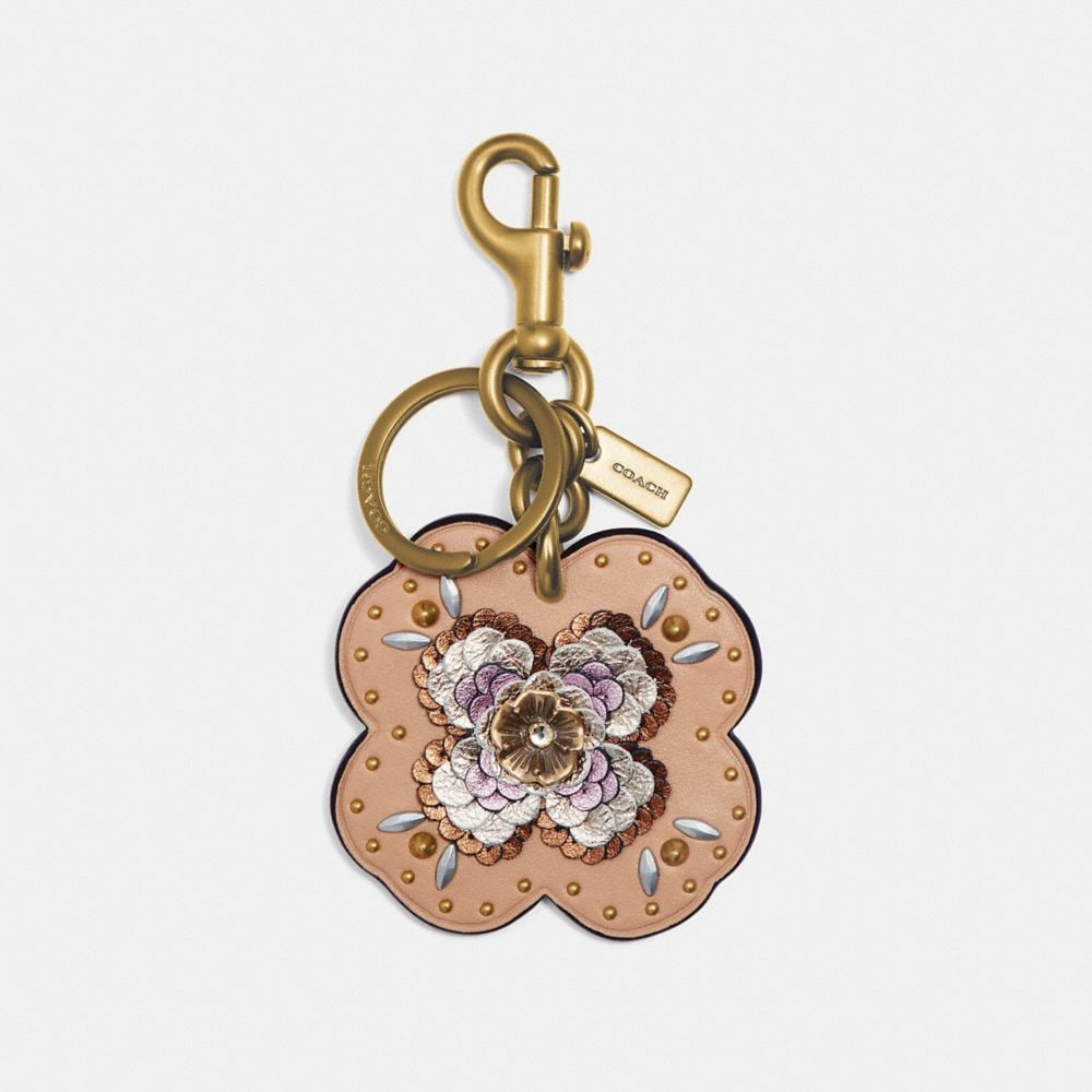 LEATHER SEQUIN APPLIQUE TEA ROSE BAG CHARM