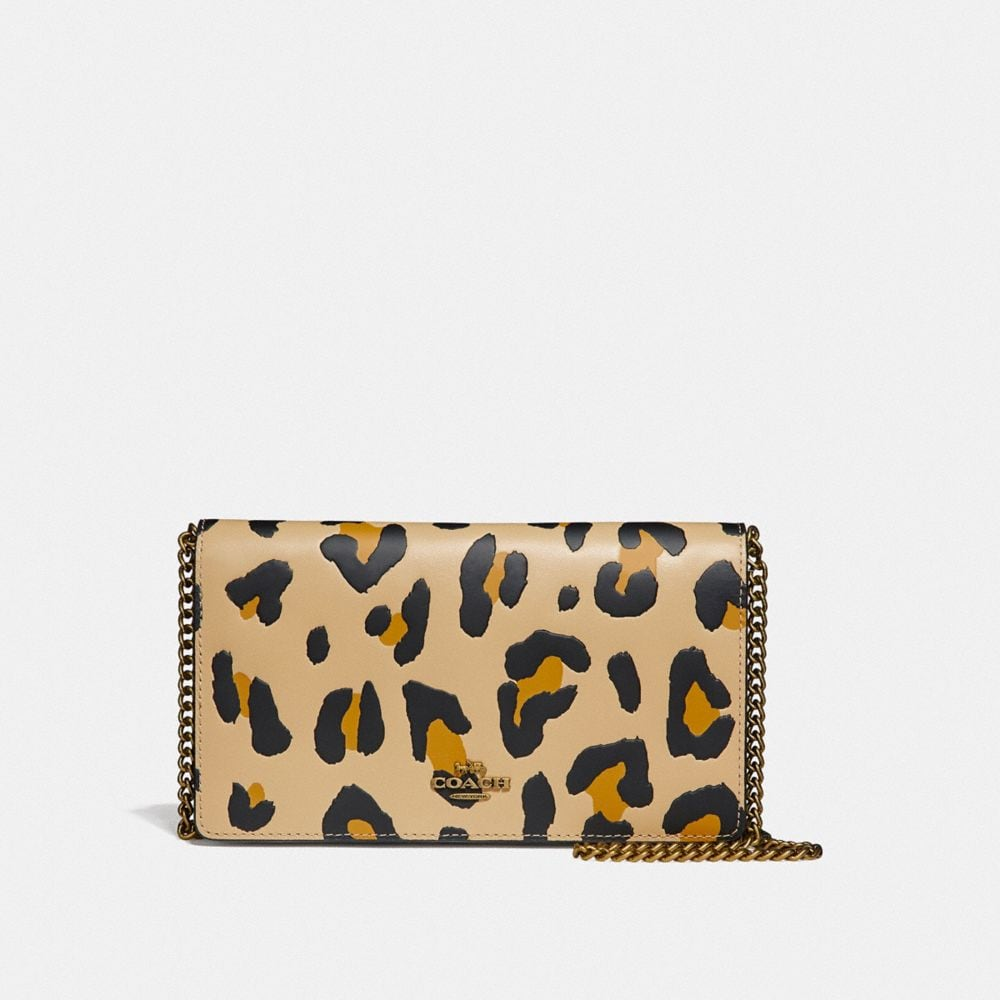 FOLDOVER CHAIN CLUTCH WITH LEOPARD PRINT