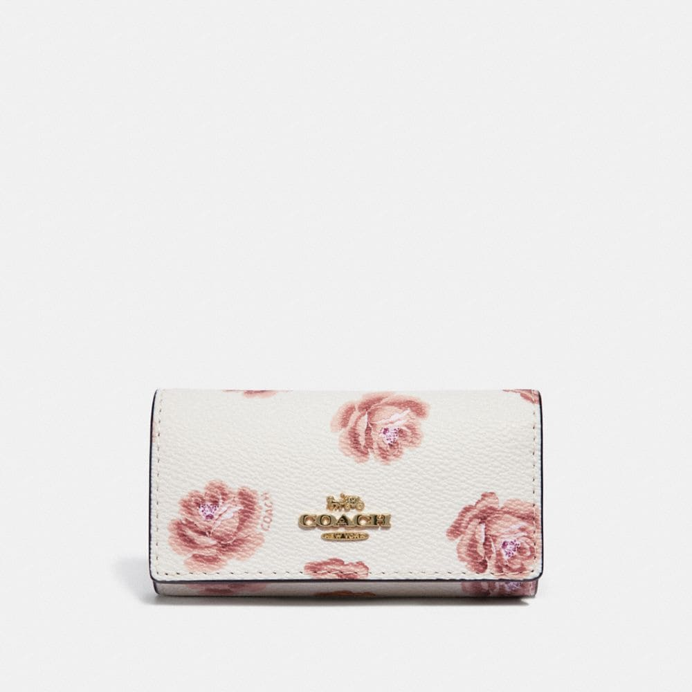 SIX RING KEY CASE WITH ROSE PRINT