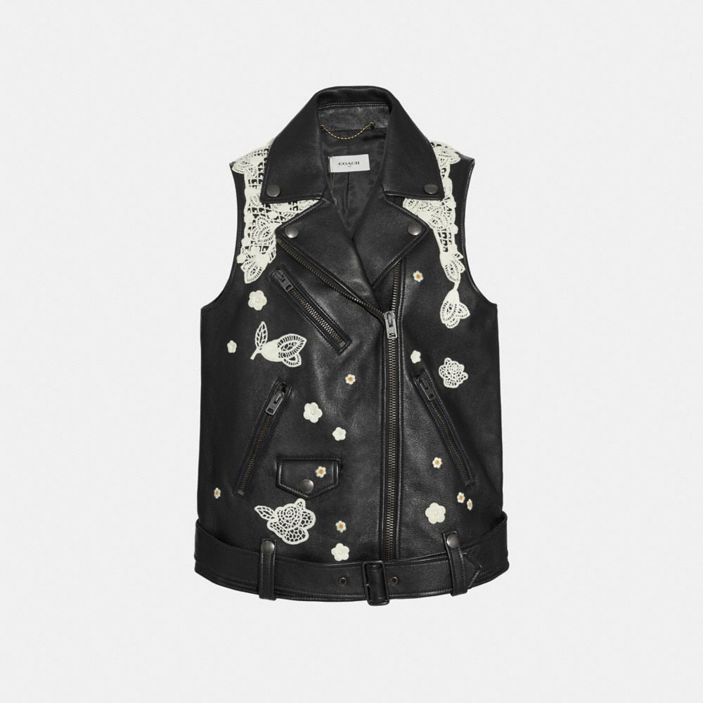 LACE EMBROIDERED LEATHER VEST