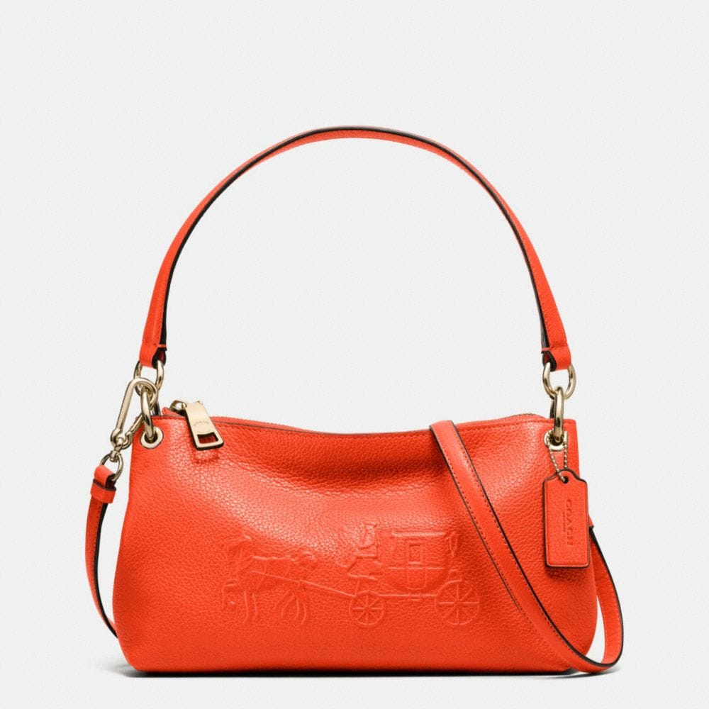 EMBOSSED HORSE AND CARRIAGE CHARLEY CROSSBODY IN PEBBLED LEATHER