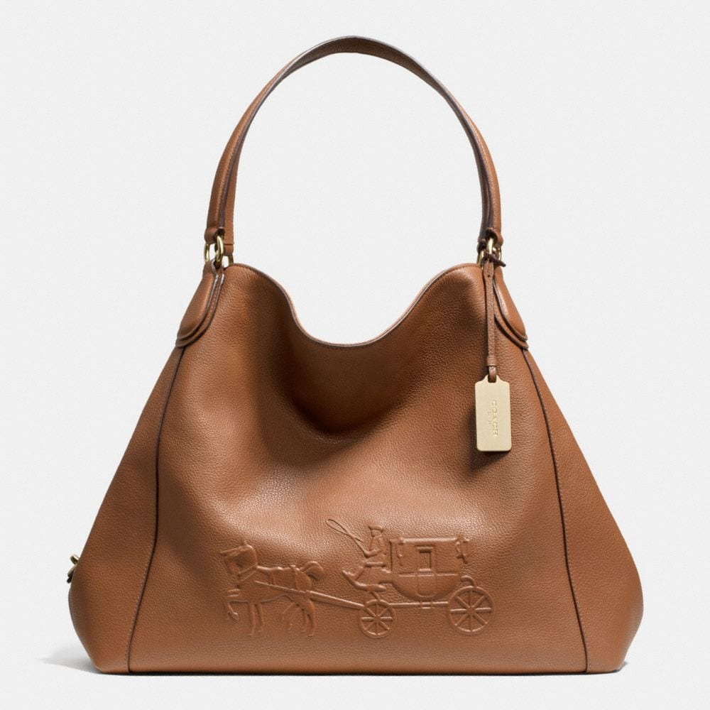 EMBOSSED HORSE AND CARRIAGE LARGE EDIE SHOULDER BAG IN PEBBLED LEATHER