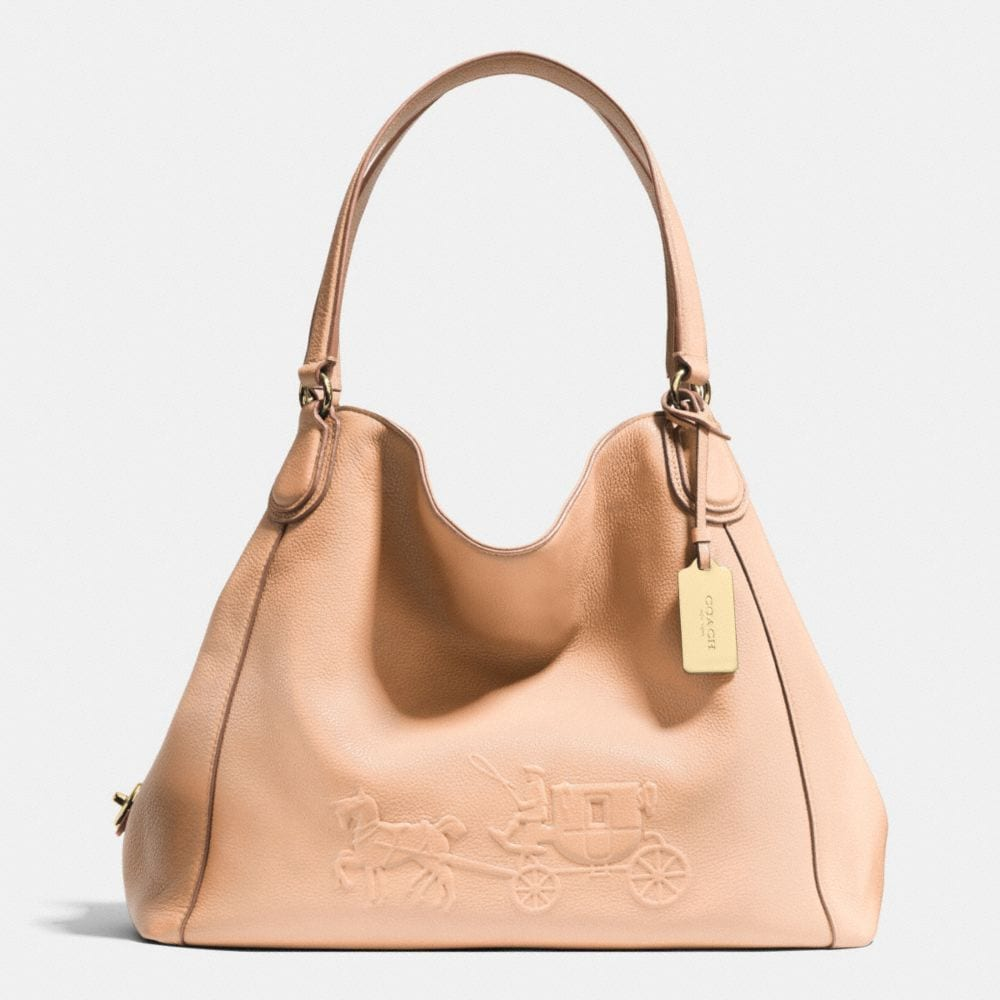 EMBOSSED HORSE AND CARRIAGE EDIE SHOULDER BAG IN PEBBLED LEATHER
