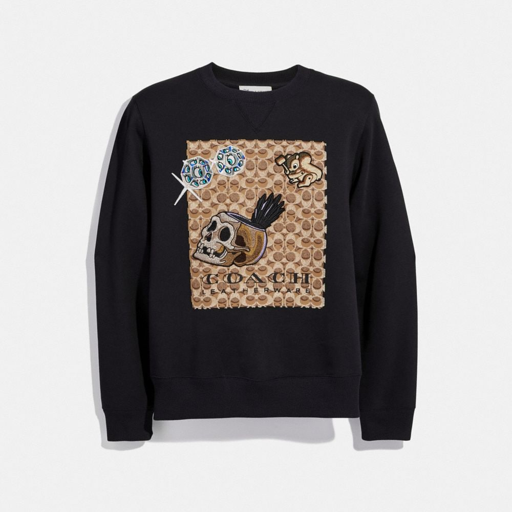 DISNEY X COACH SIGNATURE SWEATSHIRT WITH PATCHES
