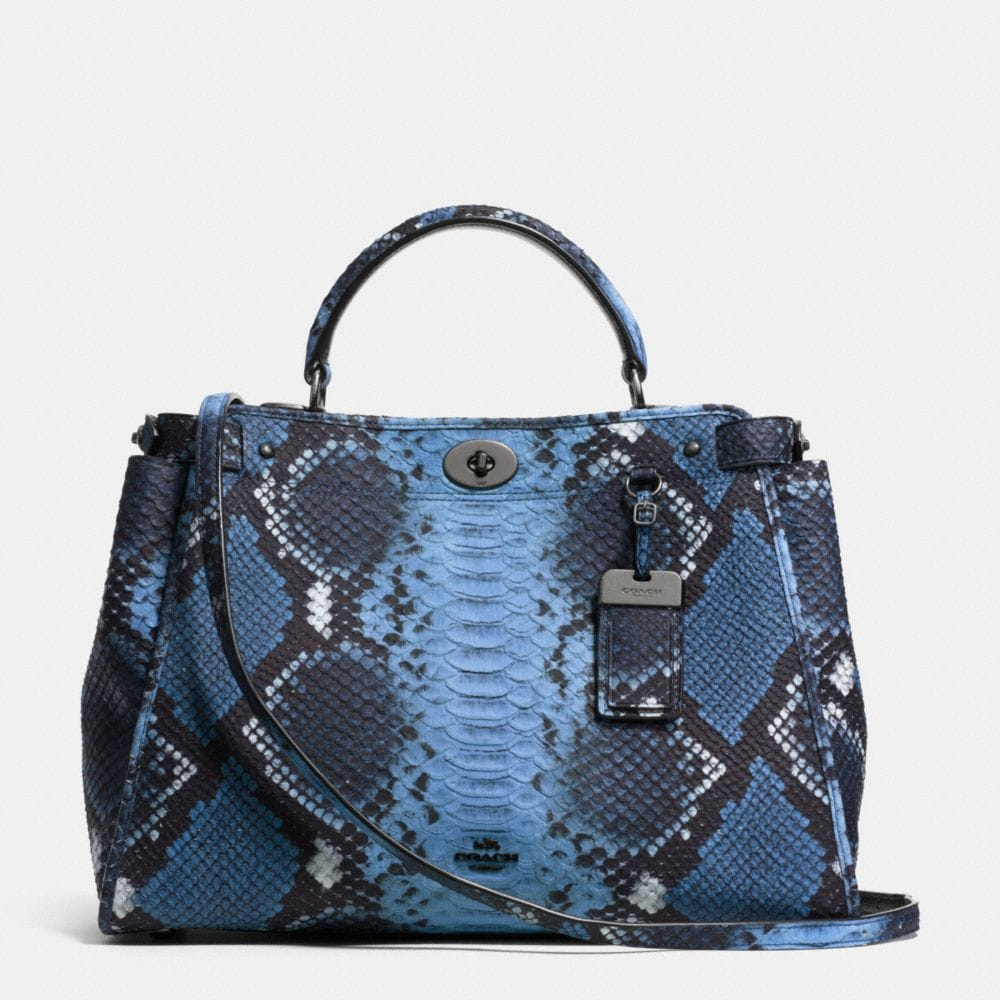 GRAMERCY SATCHEL IN PYTHON EMBOSSED LEATHER