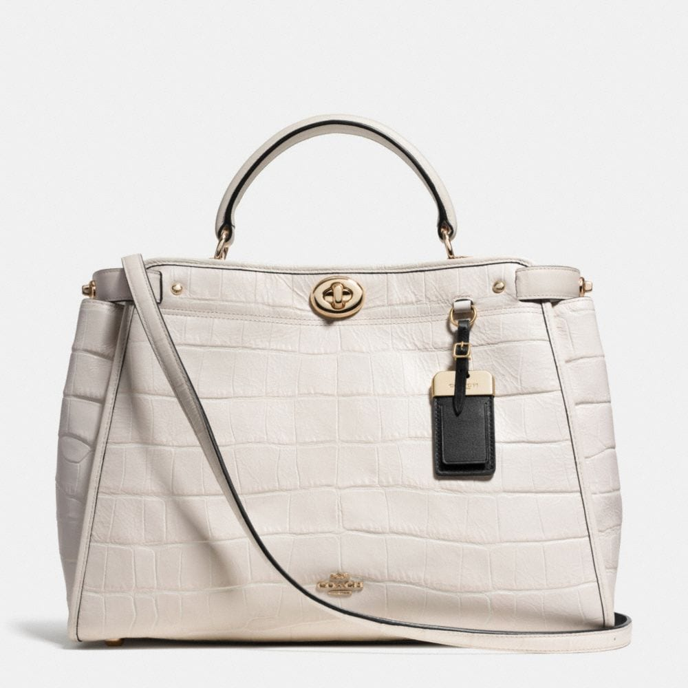 GRAMERCY SATCHEL IN CROC EMBOSSED LEATHER