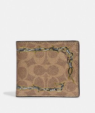 DOUBLE BILLFOLD WALLET IN SIGNATURE CANVAS WITH TATTOO