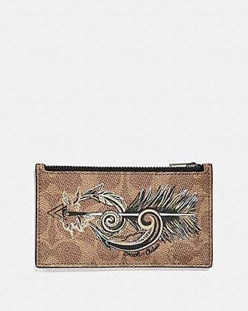 ZIP CARD CASE IN SIGNATURE CANVAS WITH TATTOO