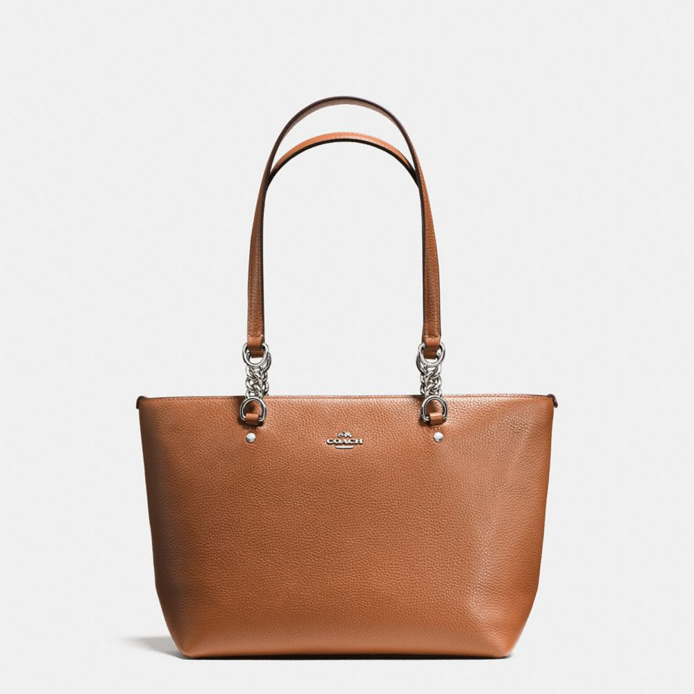 SOPHIA SMALL TOTE IN POLISHED PEBBLE LEATHER
