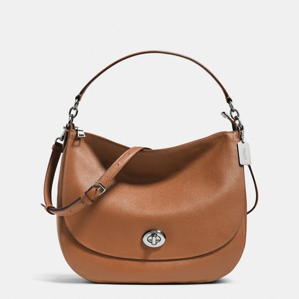 TURNLOCK HOBO IN POLISHED PEBBLE LEATHER